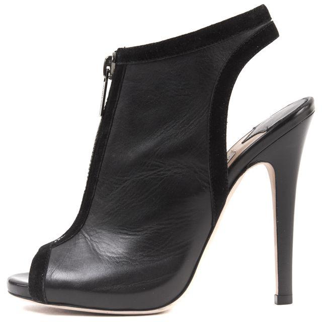 JIMMY CHOO Black Leather Bootie Heels