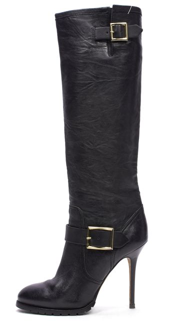 JIMMY CHOO Black Leather Gold Tone Buckle Knee High Tall Boots Heels