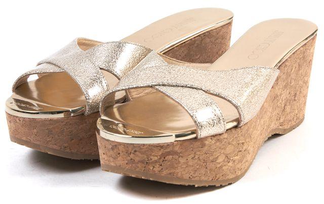 JIMMY CHOO Gold Leather Cork Wedge Sandals