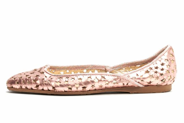 JIMMY CHOO Pink Metallic Leather Abstract Laser Cut-out Slip-On Flats