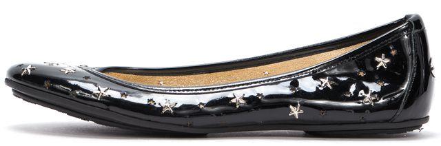 JIMMY CHOO Black Patent Leather Star Laser Cut-Out Casual Flats