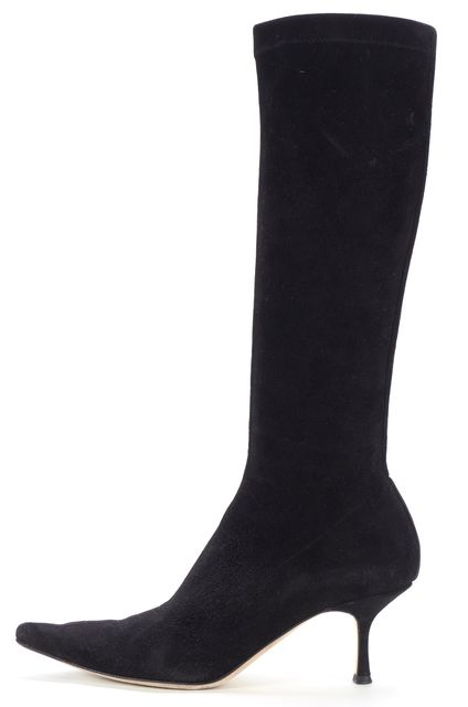 JIMMY CHOO Black Suede Pointed Toe Knee High Boots
