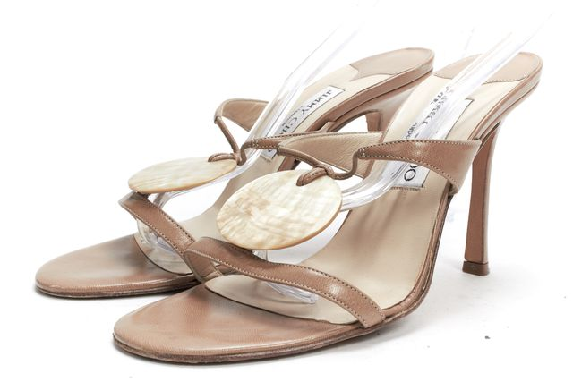 JIMMY CHOO Beige Leather Casual Strap Sandal Slip-On Mule Heels