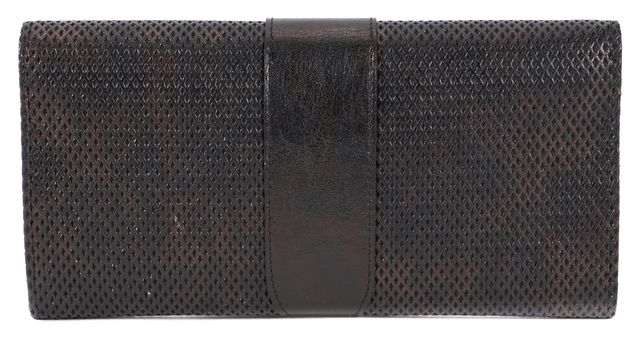 JIMMY CHOO Black Metallic Perforated Leather Reese Wallet Clutch