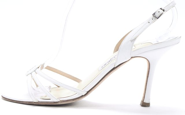 JIMMY CHOO White Leather Open-Toe D'orsay Slingback Sandal Heels
