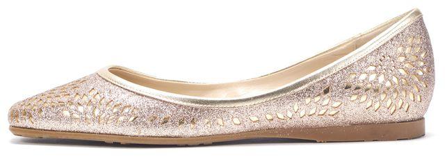 JIMMY CHOO Gold Laser Cut Leather Flats