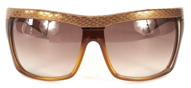 JIMMY CHOO Brown Tortoise Gold Snake Embossed Blyth Sunglasses