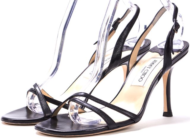 JIMMY CHOO Black Leather Strappy Slingback Sandal Heels