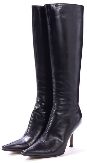 JIMMY CHOO Black Leather Knee-high Heel Boots