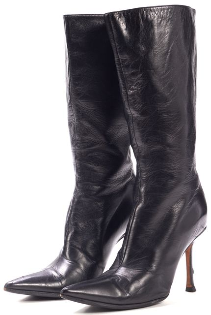 JIMMY CHOO Black Leather Pointed Toe Mid-Calf Tall Zip Back Boots