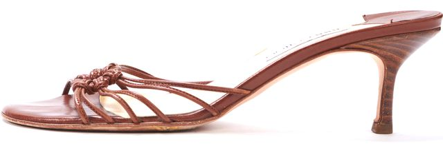 JIMMY CHOO Brown Leather Cage Front Slide-on Sandal Heels