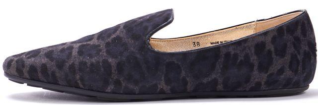 JIMMY CHOO Black Leopard Print Suede Flat Loafers