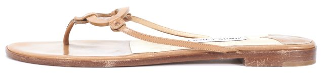 JIMMY CHOO Tan Leather Round Detail Sandals