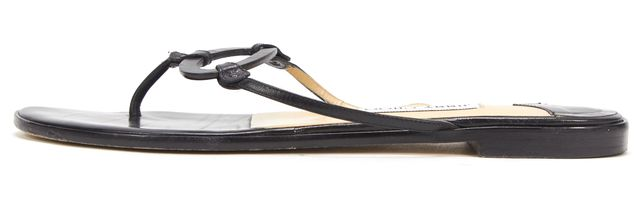 JIMMY CHOO Black Leather Circle Detail Flat Sandals