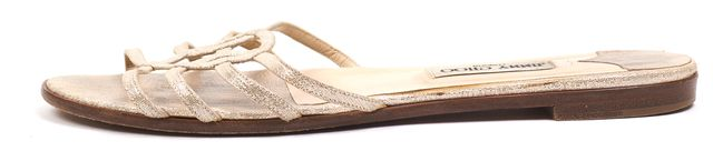JIMMY CHOO Metallic Silver Gold Leather Multi Strap Slip-On Casual Sandals