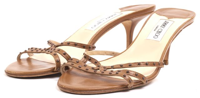 JIMMY CHOO Brown Leather Bronze Stud Embellished Multi Strap Slip-on Heels