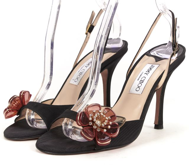 JIMMY CHOO Black Satin Open Toe Ankle Strap Red Flower Appliqué Heels