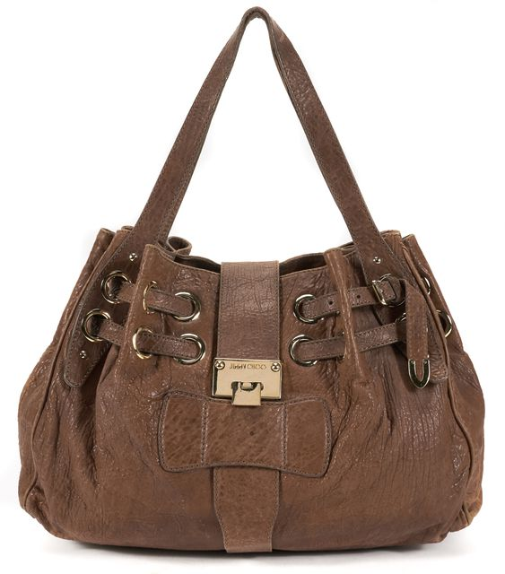 JIMMY CHOO Brown Distressed Leather Ramona Shoulder Bag