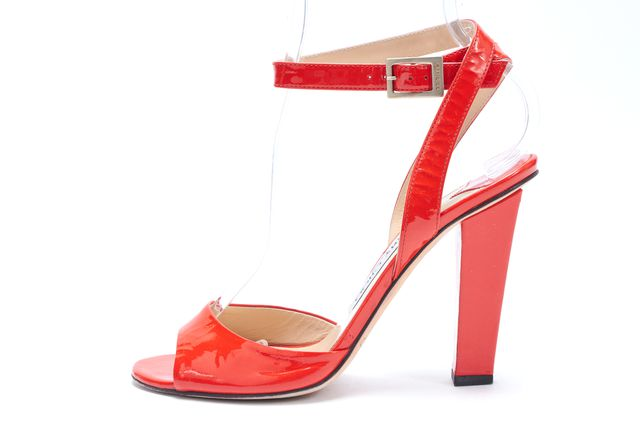 JIMMY CHOO Orange Patent Leather Wrap Around Ankle Strap Pump Sandals