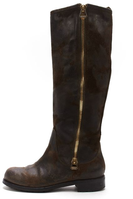 JIMMY CHOO Brown Distressed Suede Leather Tall Boots