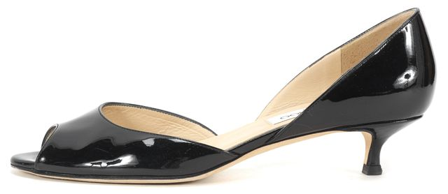 JIMMY CHOO Black Patent Leather Peep-Toe d'Orsay Kitten Heels