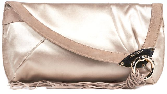 JIMMY CHOO Beige Satin Suede Trim Over Flap Fringe Clutch Bag