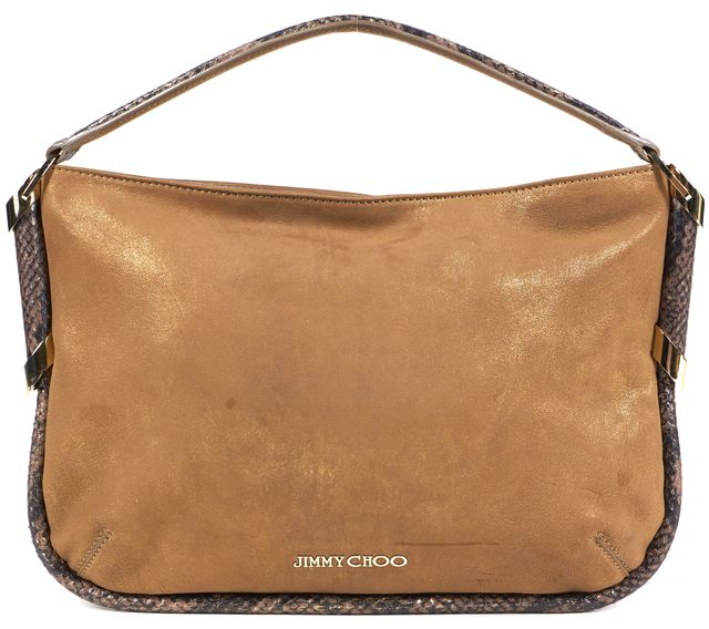 JIMMY CHOO JIMMY CHOOAuthentic Brown Metallic Suede Snake Print Shoulder Convertible Clutch