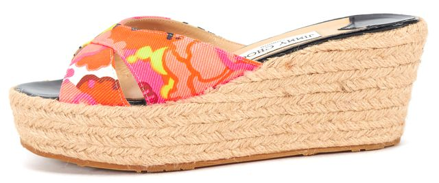 JIMMY CHOO Neon Floral Fabric Espadrille Slide Wedges US 7 IT 37