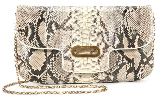 JIMMY CHOO Gray Beige Python Gold Chain Convertible Clutch Bag