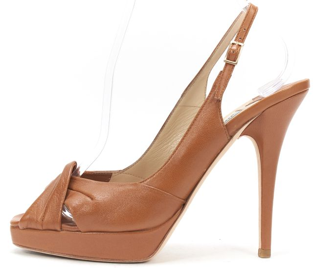JIMMY CHOO Brown Leather Twist Peep-Toe Slingbback Platform Heels