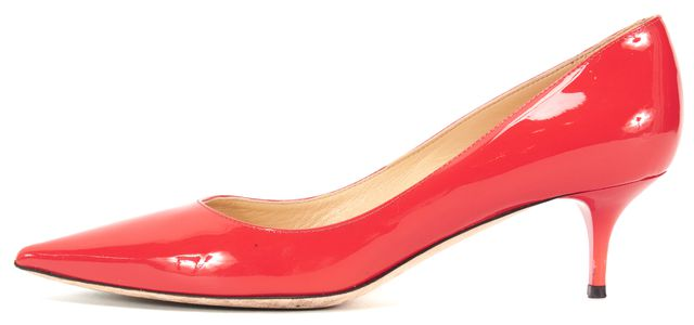 JIMMY CHOO Orange Patent Leather Pointed Toe Pump Kitten Heels