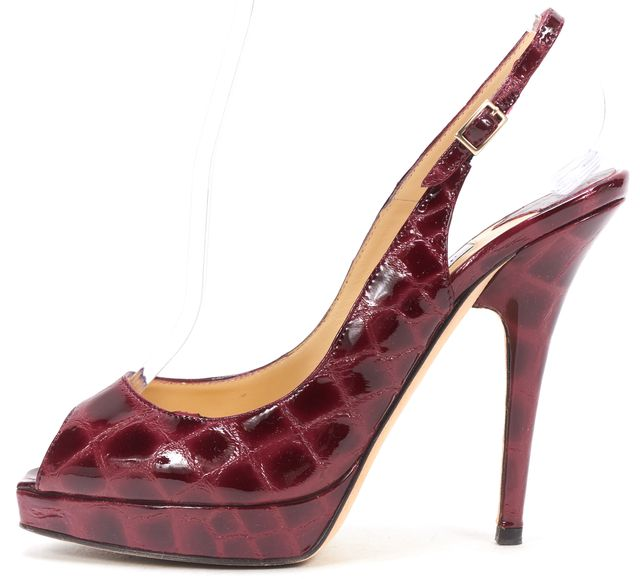 JIMMY CHOO Red Embossed Patent Leather Slingback Peep Toe Heels