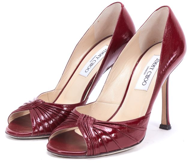 JIMMY CHOO Red Patent Leather Peep Toe Timmy Pump Heels