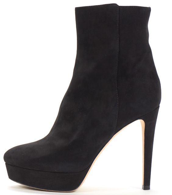 JIMMY CHOO Black Nubuck Leather Almond Toe Platform Ankle Boot Heels