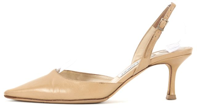 JIMMY CHOO Beige Nude Leather Pointed Toe Slingback Heels
