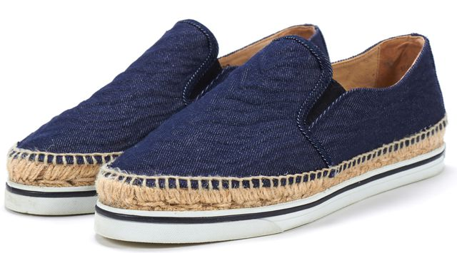 JIMMY CHOO Blue Denim Platform Espadrille Slip On Sneaker Flats