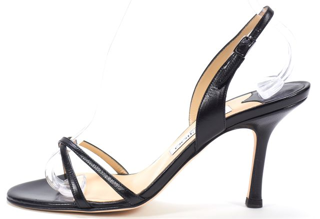 JIMMY CHOO Black Leather Jag Criss Cross Slingback Sandal Heels