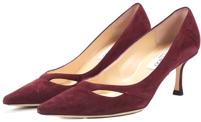 JIMMY CHOO Burgundy Suede Melia Cutout Pointed Toe Pumps