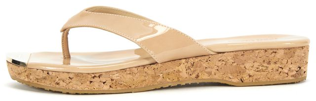 JIMMY CHOO Beige Pantent Leather Gold Plate Sandal Mini Wedges