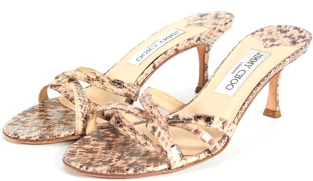JIMMY CHOO Pink Animal Print Embossed Leather Slip-On Multi Strap Heels