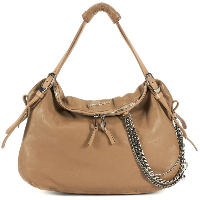 JIMMY CHOO Brown Leather Silver Chain Adjustable Strap Hobo Shoulder Bag