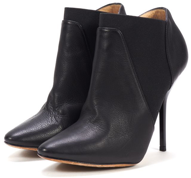 JIMMY CHOO Black Leather Elastic Sides Pointed Toe Ankle Boots