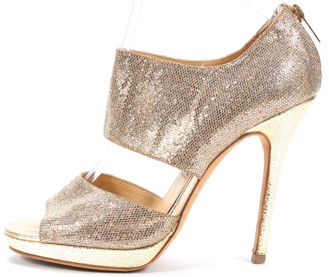 JIMMY CHOO Gold Sequin Leather Open Toe Heels