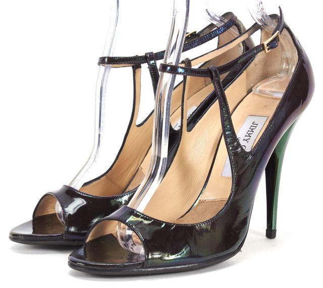 JIMMY CHOO Iridescent Patent Leather Ankle Strap Sandal Heels
