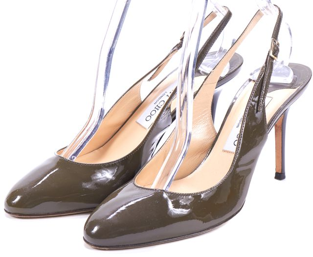 JIMMY CHOO Brown Patent Leather Slingback Heels