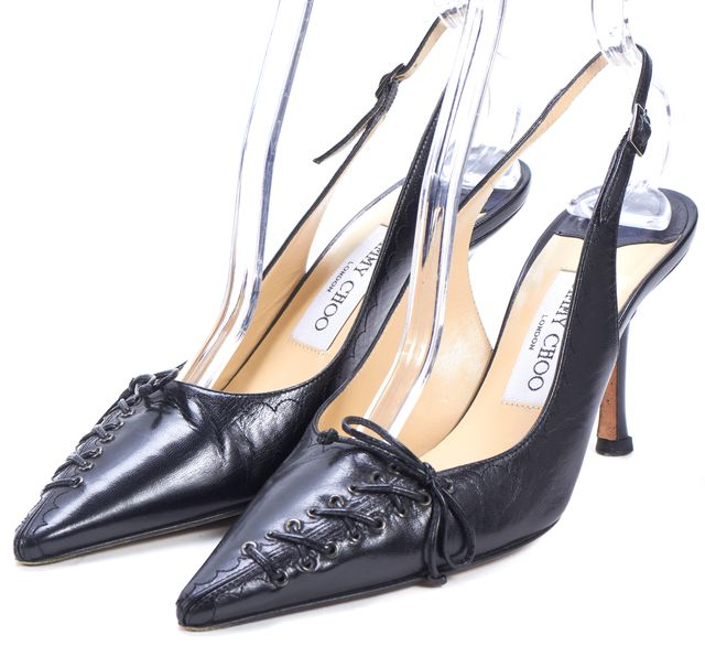 JIMMY CHOO Black Leather Laced Slingback Pointed Pumps