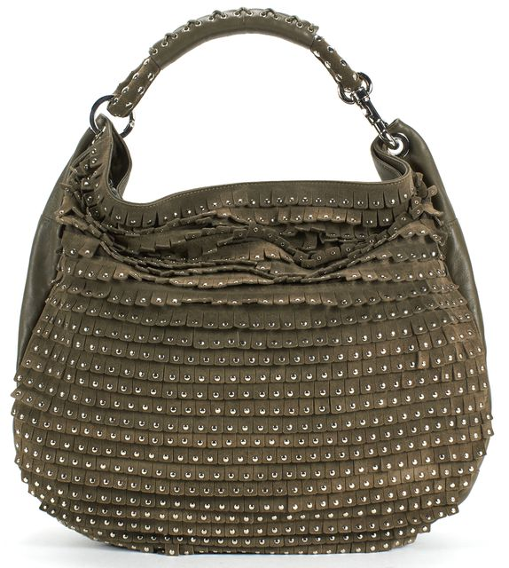 JIMMY CHOO Green SSuede Leather Silver Studded Fringe Hobo Bag