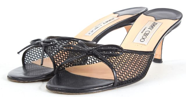 JIMMY CHOO Black Leather Slip-On Mesh Bow Embellished Sandal Heels