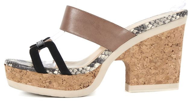 JIMMY CHOO Beige Black Leather Suede Cork Slide On Platform