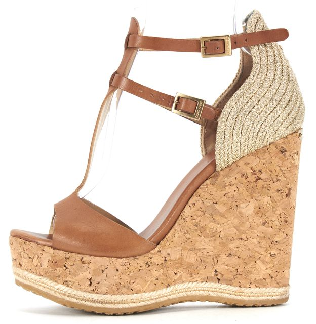 JIMMY CHOO Camel Metallic Gold Leather Braided T-Strap Cork Wedges